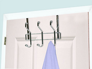 Home Accents 3 Dual Hook Over-the-Door Chrome Plated Steel Hanging Organizing Rack, , rollover