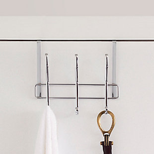 Home Accents 3 Dual Hook Over-the-Door Chrome Plated Steel Hanging Organizing Rack, , large