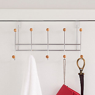Home Accents 5 Wooden Dual Hook Over-the-Door Steel Organizing Rack, , rollover