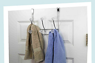 Home Accents Chrome Plated Steel 3 Hook Over-the-Door Hanging Rack, , rollover