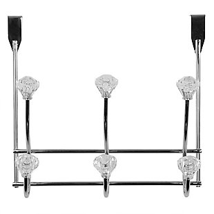 Home Accents Chrome Plated Steel 3 Hook Over-the-Door Hanging Rack, , large