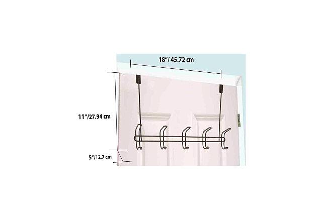 Home Accents Steel 5 Hook Over-the-Door Hanging Rack, , large