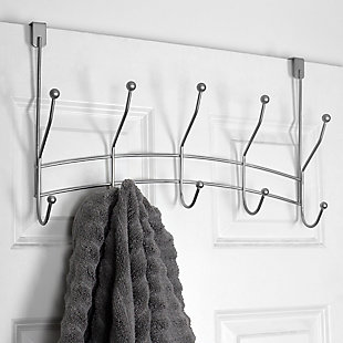 Home Accents Shelby 5 Hook Over-the-Door Hanging Rack, Silver Finish, rollover