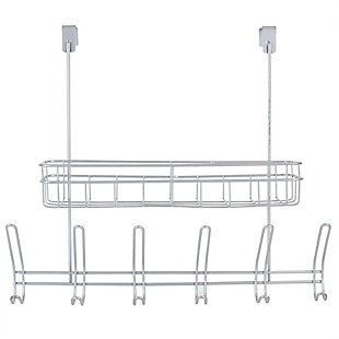 Home Accents Over-the-Door Powder Coated Steel 6 Hook Hanging Rack with Built-in Basket, , rollover