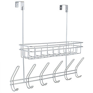Home Accents Over-the-Door Powder Coated Steel 6 Hook Hanging Rack with Built-in Basket, , large