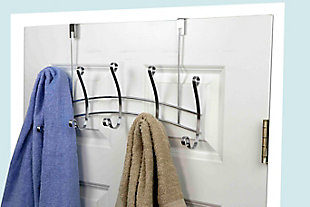 Home Accents Arch Chrome 5 Hook Over-the-Door Hanging Rack, , large