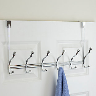 Home Accents 6 Hook Over-the-Door Tri-Bar Hanging Rack, , rollover