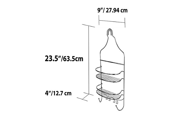 Home Accents Chrome Plated Steel Flat Wire Shower Caddy, , large