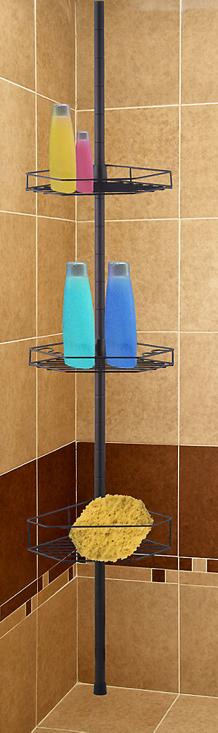 Home Basics Home Basics 3 Tier Tension Rod Shower Caddy, , large