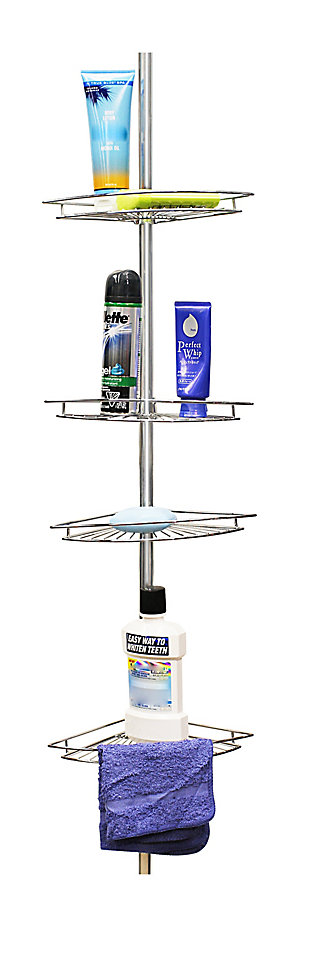 Home Accents 4 Tier Corner Shower Shelf, , large