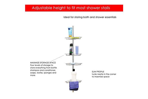 Home Accents 4 Tier Corner Shower Shelf, , large