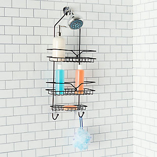 Home Accents Classic 2 Shelf Shower Caddy with Bottom Hooks and Center Soap Dish Tray, , rollover