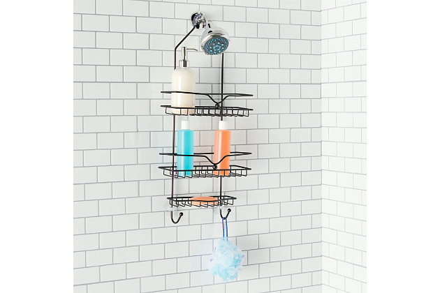 Home Accents Classic 2 Shelf Shower Caddy with Bottom Hooks and Center Soap Dish Tray, , large
