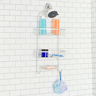 Home Basics Home Basics Rust-Resistant 2 Tier Aluminum Shower Caddy with Built-in Hooks and Soap Tray, , rollover