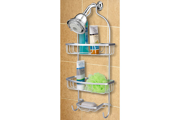 Home Basics Home Basics Rust-Resistant 2 Tier Aluminum Shower Caddy with Built-in Hooks and Soap Tray, , large