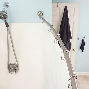 Home Accents Steel Curved Shower Rod, Satin Nickel Finish, large