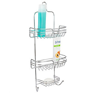 Home Accents Sleek Chrome Plated Steel Shower Caddy, , large