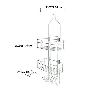 Home Accents 2 Tier Adjustable Shelving Hanging Shower Caddy, , large