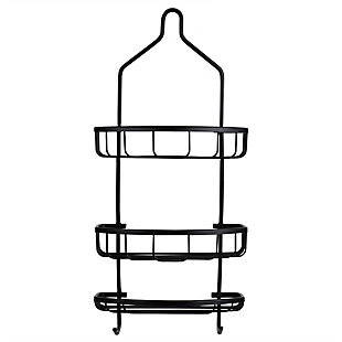 Home Accents Rio 2 Tier Aluminum Shower Caddy with Built-In Hooks and Large Capacity Soap Tray, , large