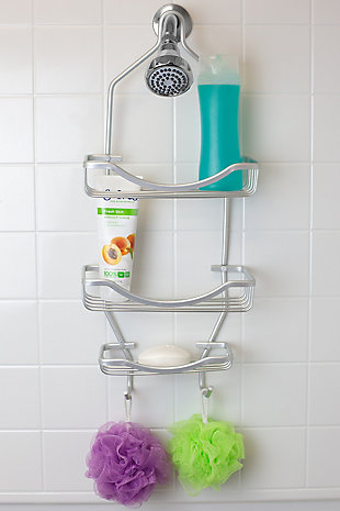 Home Accents Rio 2 Tier Aluminum Shower Caddy with Built-In Hooks and Large Capacity Soap Tray, Satin Nickel Finish, rollover