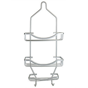 Home Accents Rio 2 Tier Aluminum Shower Caddy with Built-In Hooks and Large Capacity Soap Tray, Satin Nickel Finish, large