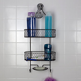Home Accents HoneyComb 2 Tier Shower Caddy with Built-In Hooks, , rollover