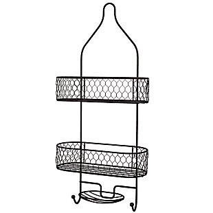 Home Accents HoneyComb 2 Tier Shower Caddy with Built-In Hooks, , large