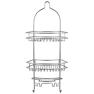 Home Accents Minimal Anti-Slip 3 Shelf Shower Caddy with Bath and Shower Accessory Hooks, , large