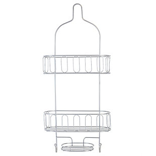 Home Accents Unity 2 Tier Shower Caddy with Bottom Hooks and Center Soap Dish Tray, , large