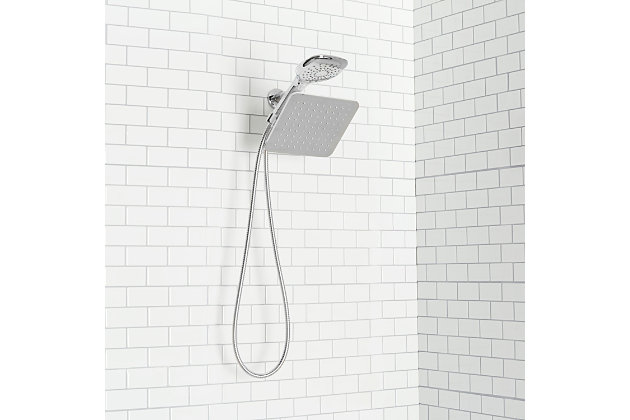 Home Accents  Dual Rainfall Chrome Plated Steel Shower Massager, , large