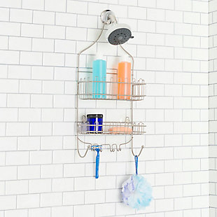Home Basics Home Basics Satin Nickel Shower Caddy with Built-In Razor and Shower Hooks, , rollover