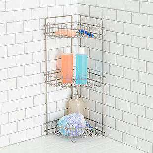 Home Accents Large Capacity Space-Saving 3 Tier Corner Steel Shower Caddy, , rollover