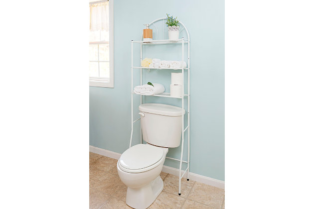 Home Accents 3 Shelf Steel Bathroom Space Saver, White, large