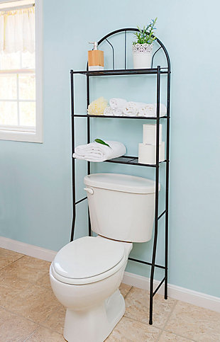 Home Accents 2 Shelf Steel Bathroom Space Saver, Black, rollover