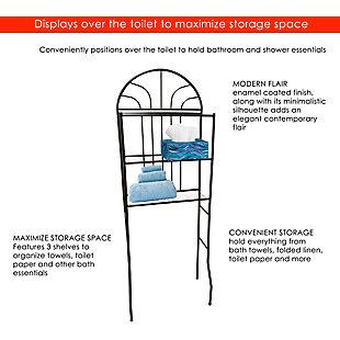 Home Accents 2 Shelf Steel Bathroom Space Saver, Black, large