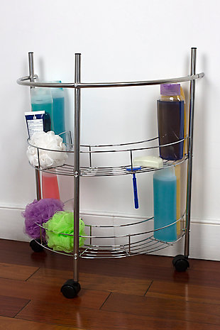 Home Accents 2 Tier Under the Sink Pedestal Rolling Storage Shelf, , rollover
