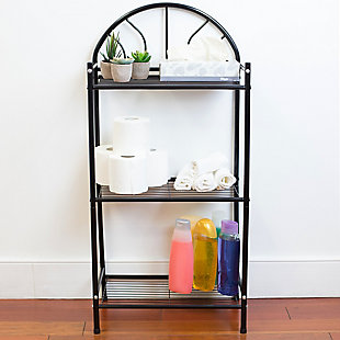Home Accents 3 Tier Enamel Coated Steel Multi-Purpose Bath Storage Shelf, Black, rollover