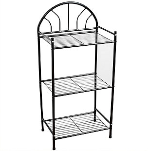 Home Accents 3 Tier Enamel Coated Steel Multi-Purpose Bath Storage Shelf, Black, large