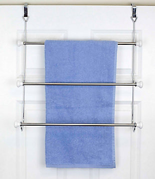 Home Accents 3 Tier Chrome Plated Steel Over-the-Door Towel Rack with Ceramic Knobs, , rollover