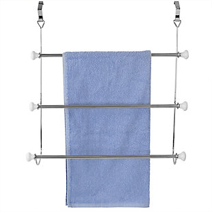 Home Accents 3 Tier Chrome Plated Steel Over-the-Door Towel Rack with Ceramic Knobs, , large