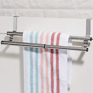 Home Accents Over the Cabinet Door Quick Install Hanging Modern Expandable 2 Tier Steel Towel Storage Rack, , rollover