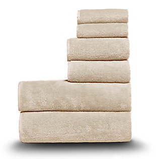 Arus 100% Turkish Terry Cotton 6-Pc Towel Set, Cream, large