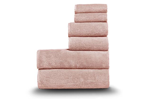 Arus 100% Turkish Terry Cotton 6-Pc Towel Set, Pink, large