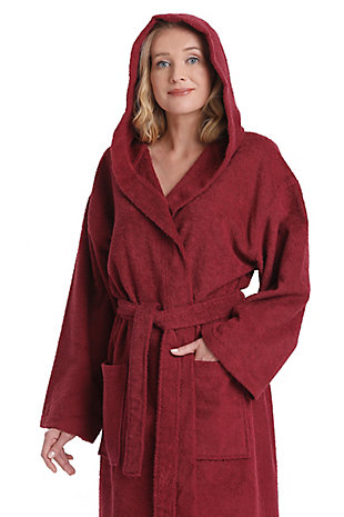 Arus Women's Hooded Classic Turkish Cotton Bathrobe (L/XL), Red, large