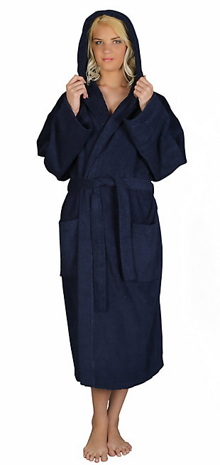 Arus Women's Hooded Classic Turkish Cotton Bathrobe (S/M), Blue, large