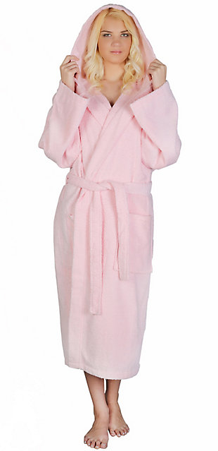 Arus Women's Hooded Classic Turkish Cotton Bathrobe (S/M), Pink, rollover