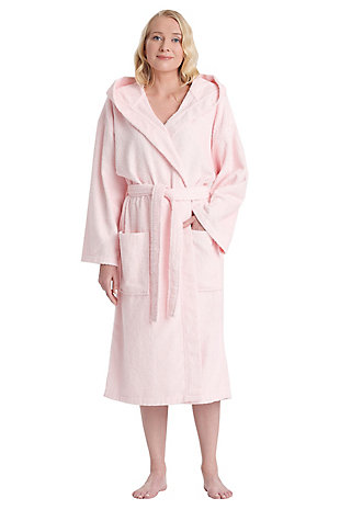 Arus Women's Hooded Classic Turkish Cotton Bathrobe (S/M), Pink, large