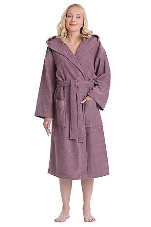 Arus Women's Hooded Classic Turkish Cotton Bathrobe (L/XL), , large