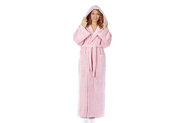 Arus Women's Hooded Classic Turkish Cotton Bathrobe (S), Pink, large