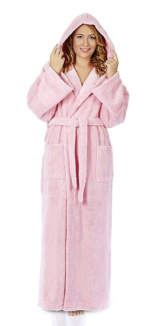 Arus Women's Hooded Classic Turkish Cotton Bathrobe (L), , rollover